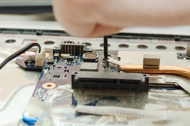 Inom datoren Elektroniska delar av bärbara datorn fotografering för bildbyråer