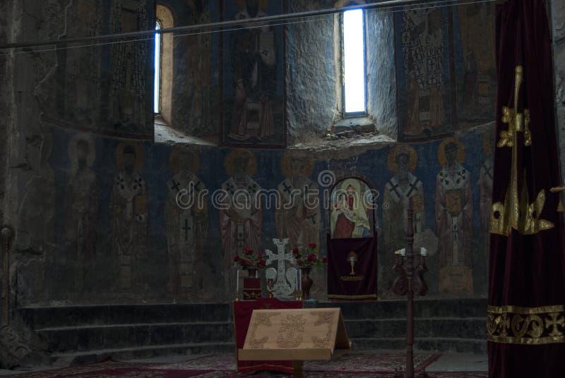 Inom den Akhtala kloster eller väggmålningar av Surp Astvatsatsin i Armenien arkivfoton