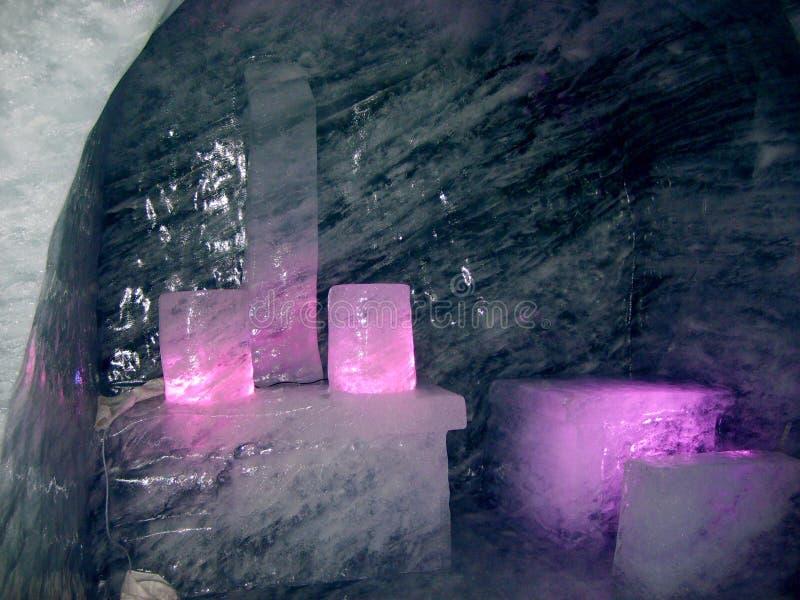 Inom den Mer de Glace glaciären Chamonix france alpin arkivfoton