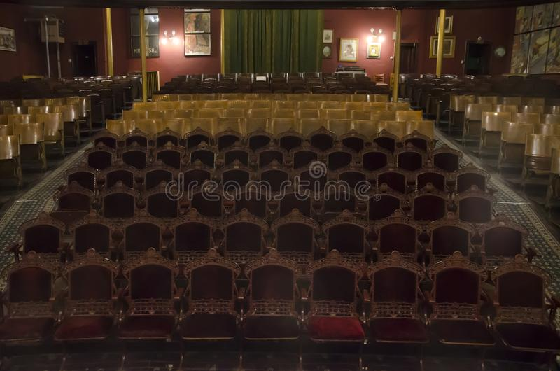 Inom den Tabor operahuset i Leadville Colorado royaltyfri foto