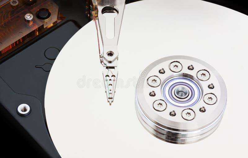 Inom ett magnetiskt hårddiskslut upp arkivfoto