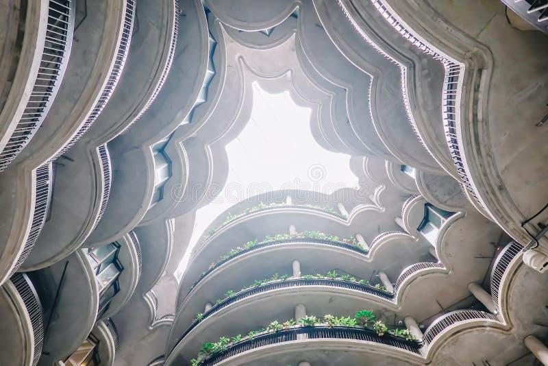 Inom sikt av byggnad 'Dim Sum korg 'på Nanyang det teknologiska universitetet NTU, modern arkitektonisk byggnad i Singapore arkivbild