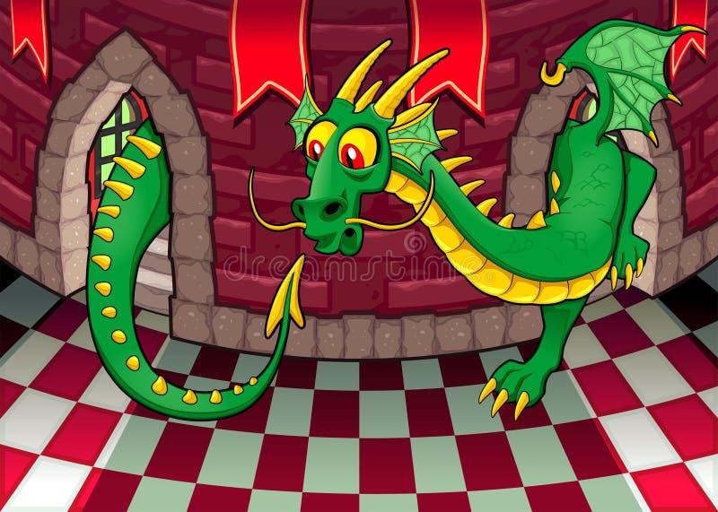 Inom slotten med draken. stock illustrationer