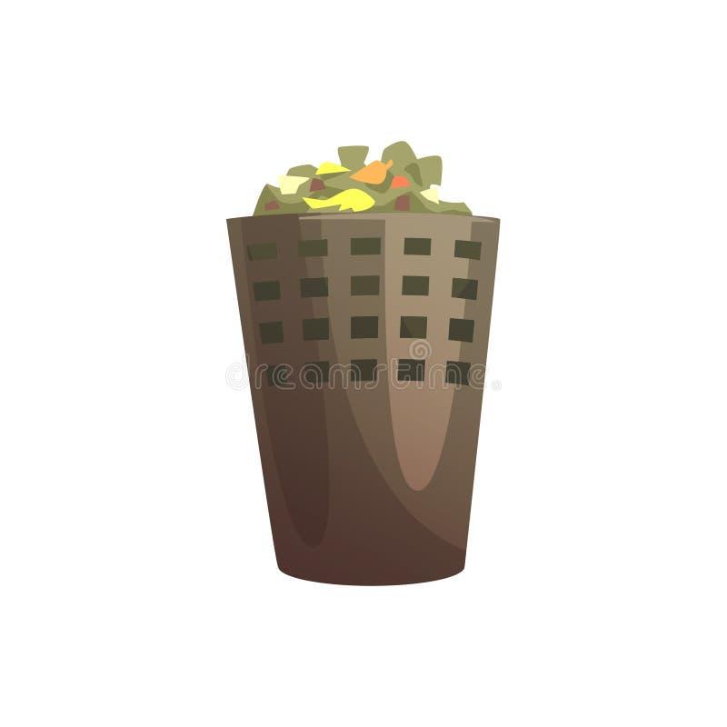 Inomhus avfallfack, bearbeta för avfalls och illustration för utnyttjandetecknad filmvektor vektor illustrationer