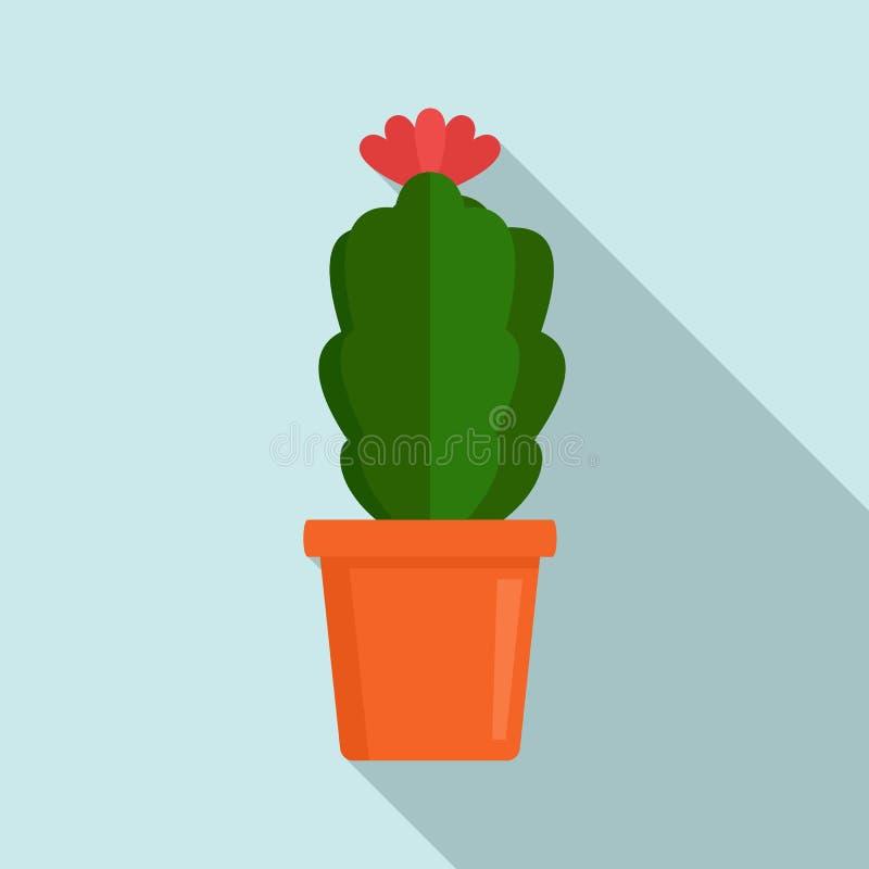 Inomhus blommakaktussymbol, plan stil royaltyfri illustrationer