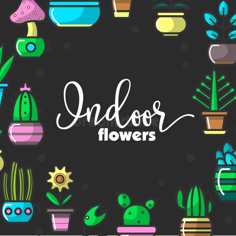 Inomhus blommor och husväxter av den hem- dekorativa blom- trädgårds- vektoraffischen stock illustrationer
