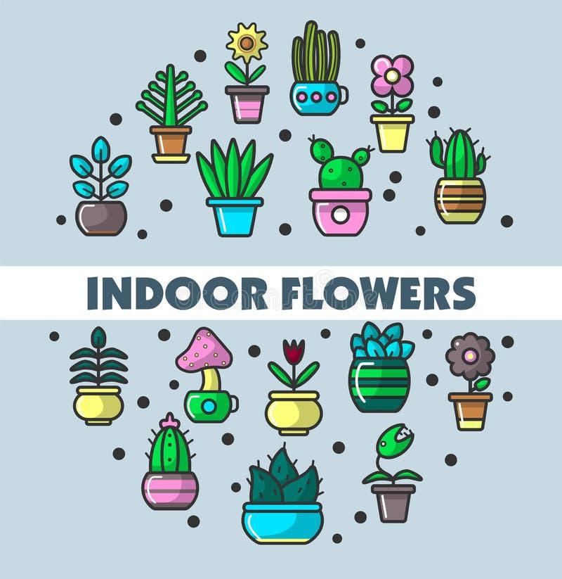 Inomhus blommor och husväxter i blomkrukavektoraffischen för hem- arbeta i trädgården vektor illustrationer