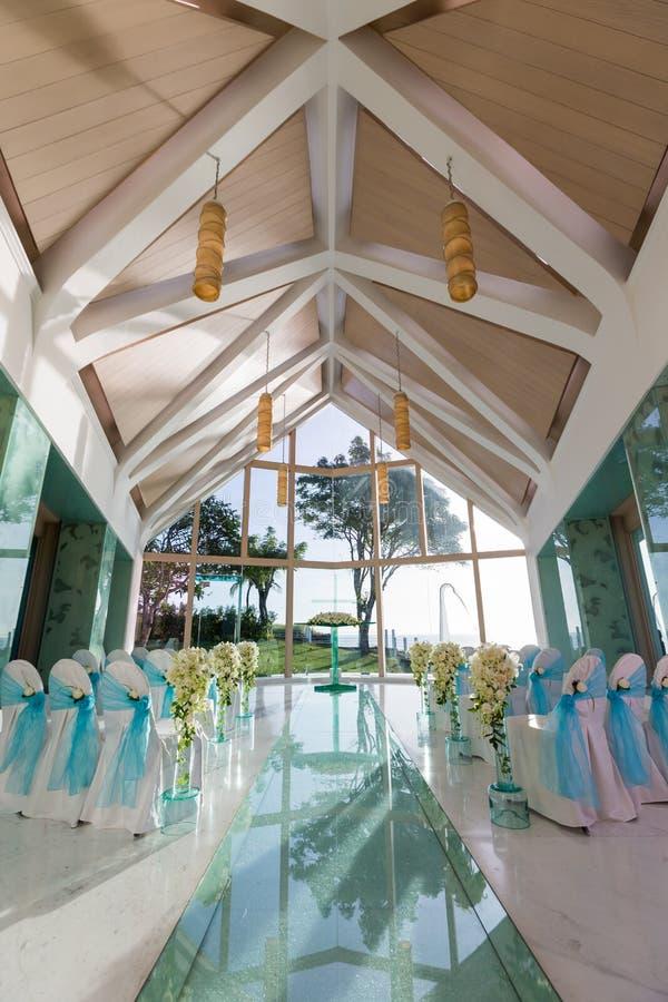 Inomhus bröllopplats royaltyfria foton