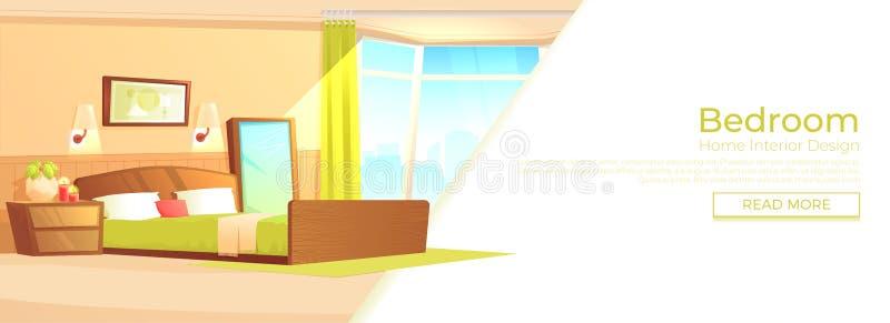 Inomhus inre banerbegrepp för sovrum Hemtrevligt hotellrum för par Lyxigt möblemang missbelåten illustration för pojketecknad fil vektor illustrationer