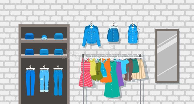 Inomhus inre illustration för kvinnakläderlager stock illustrationer