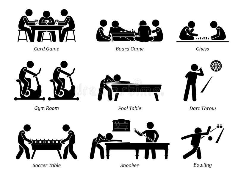 Inomhus klubbalekar och fritids- aktiviteter royaltyfri illustrationer