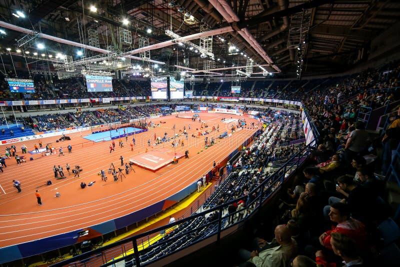Inomhus mästerskap för europeisk friidrott i Belgrade, Serbien arkivfoton