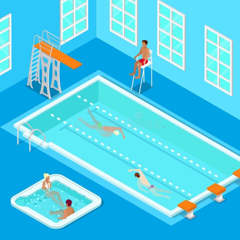 Inomhus simbassäng med simmare, Lifesaver och bubbelpoolen Isometriskt folk stock illustrationer