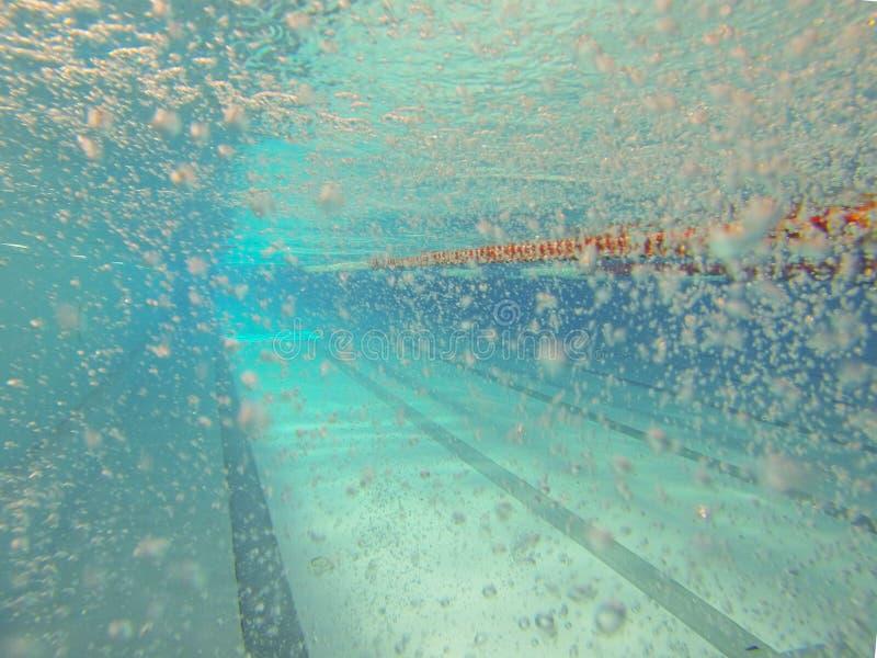 Inomhus simma den 25 meter pölen Sikt under vatten Sportspår Mötesplats för vattensportar och konkurrenser Konstgjord behållare royaltyfria bilder