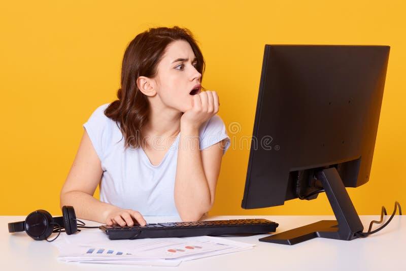 Inomhus skott av den unga attraktiva kvinnlign som ser dators bildskärm med den öppna munnen, hållande ögonen på intersting film, arkivbild