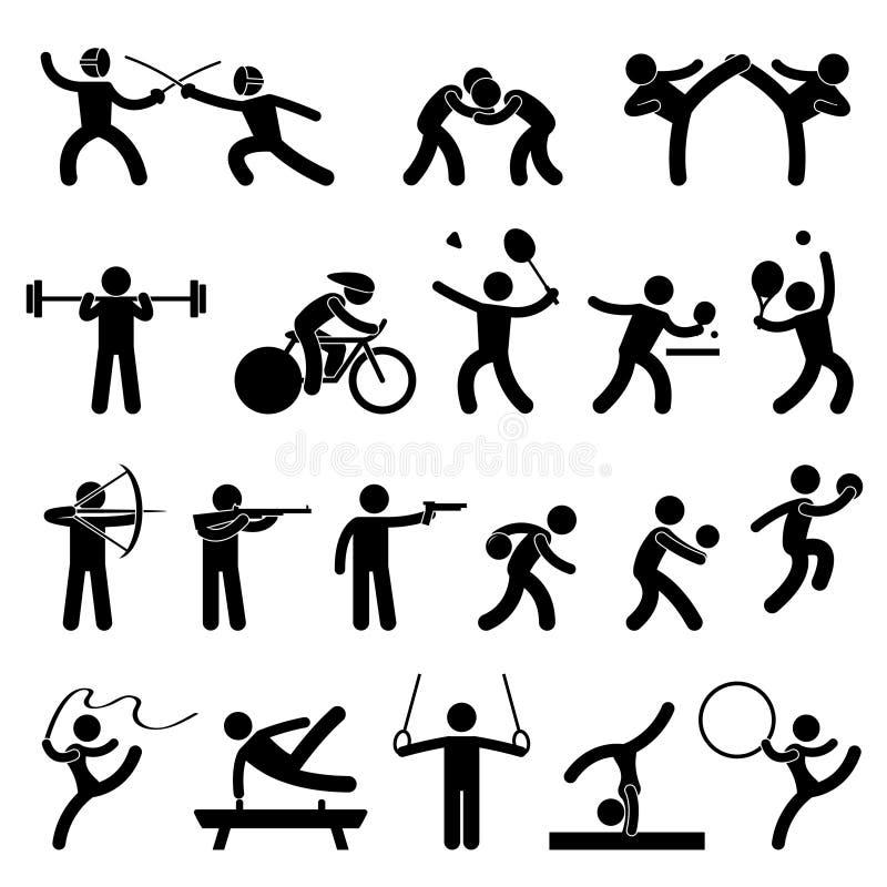 inomhus sport för idrotts- modig symbol royaltyfri illustrationer