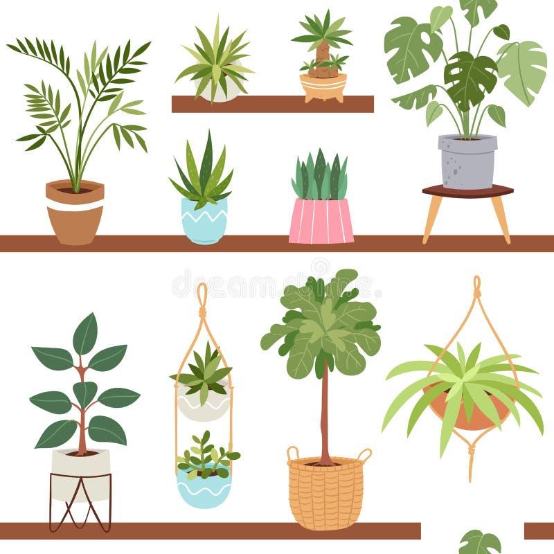 Inomhus vektorväxter för hus och hemlagade blommor för natur i blomkruka för träd för houseplant för krukainregarnering naturlig stock illustrationer
