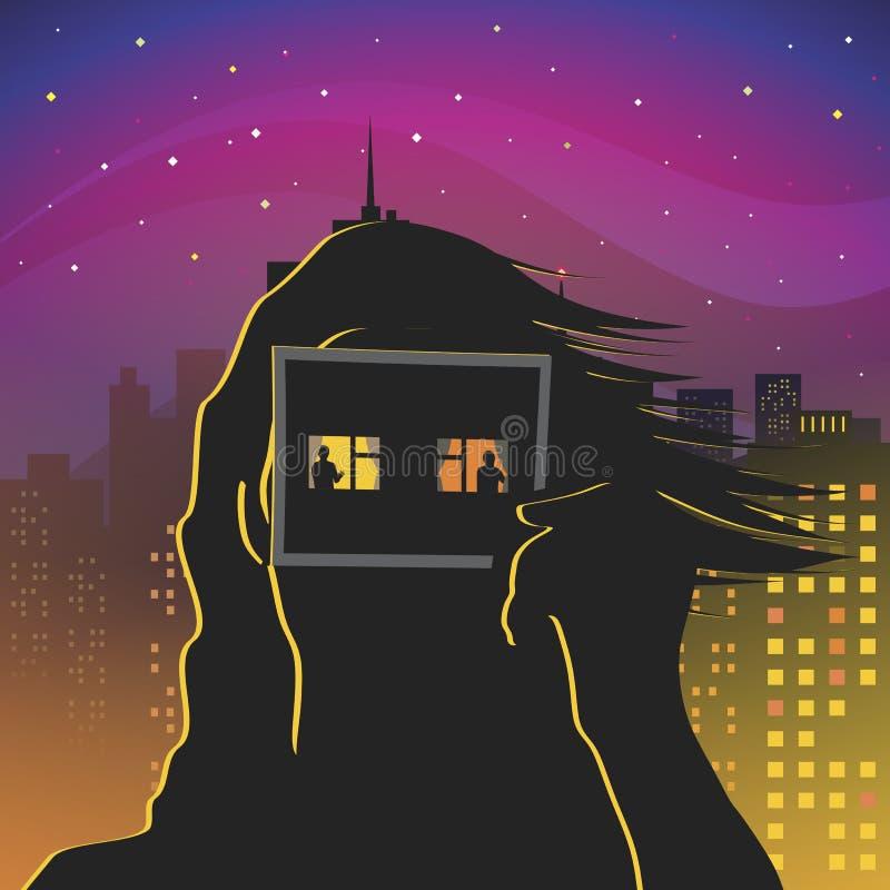 Inomvärldens fönster stock illustrationer