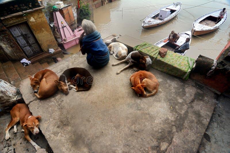 Inondation à Varanasi photo stock