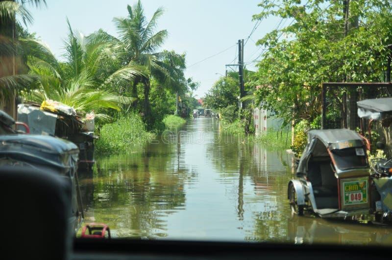 Inondation aux Philippines images libres de droits