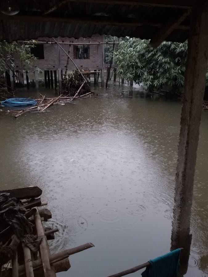 Inondation d'Assam pour le village d'Assam Majuli photos libres de droits