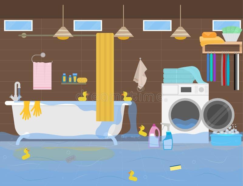 Inondation de couleur de bande dessinée dans la toilette à l'intérieur d'intérieur Vecteur illustration de vecteur