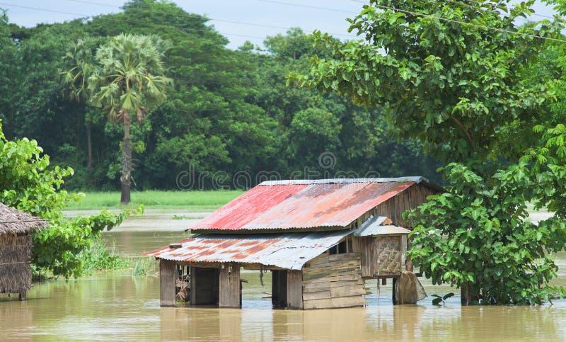 Inondation de mousson dans Myanmar 2015 images stock