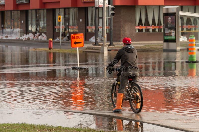 Inondation en printemps 2019 du Qu?bec photographie stock