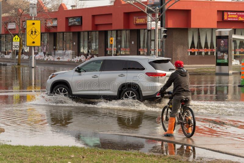 Inondation en printemps 2019 du Qu?bec image stock