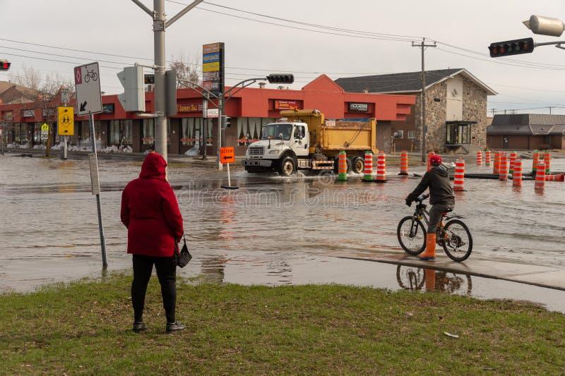 Inondation en printemps 2019 du Qu?bec photos libres de droits