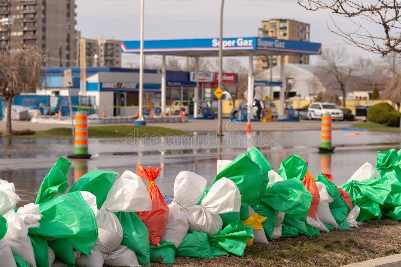 Inondation en printemps 2019 du Qu?bec images libres de droits