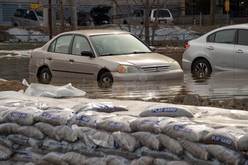 Inondation en printemps 2019 du Qu?bec photos stock