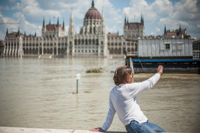 Inondations de Budapest photo libre de droits