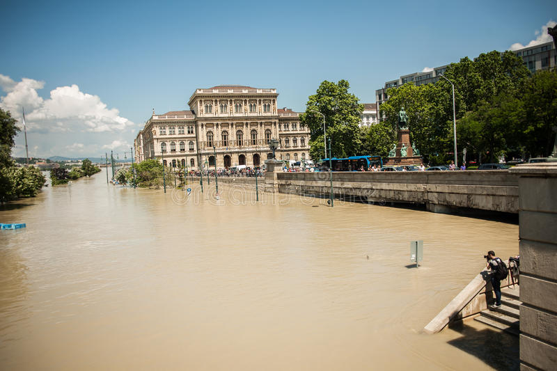 Inondations de Budapest photos libres de droits