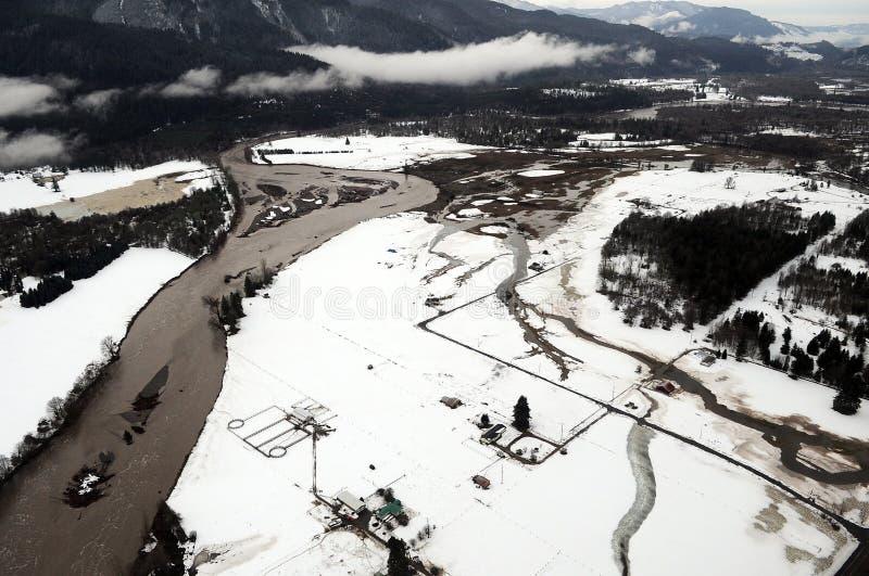 Inondazione del fiume di Cowlitz, Stato del Washington fotografia stock libera da diritti
