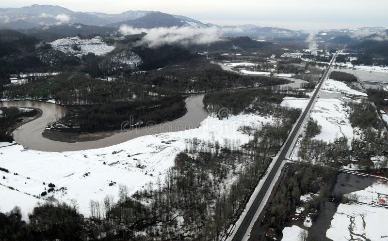 Inondazione del fiume di Cowlitz, Stato del Washington immagini stock