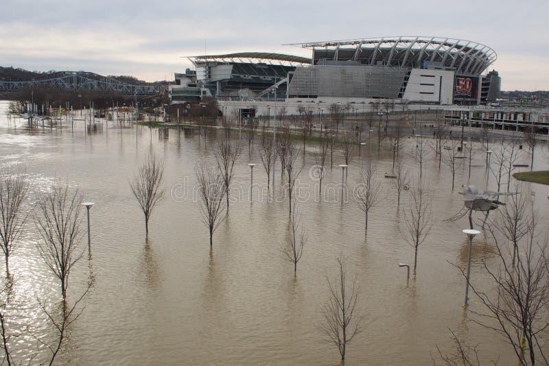 Inondazione 2018 del fiume Ohio con l'orizzonte di Cincinnati fotografie stock libere da diritti