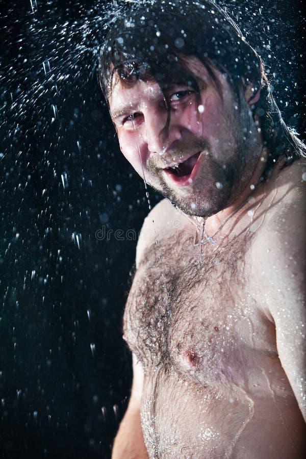 Inondazione dell'uomo fotografia stock