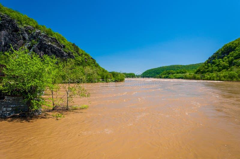 Inondazione della primavera sul fiume Potomac in traghetto di Harper, Virginia Occidentale immagini stock