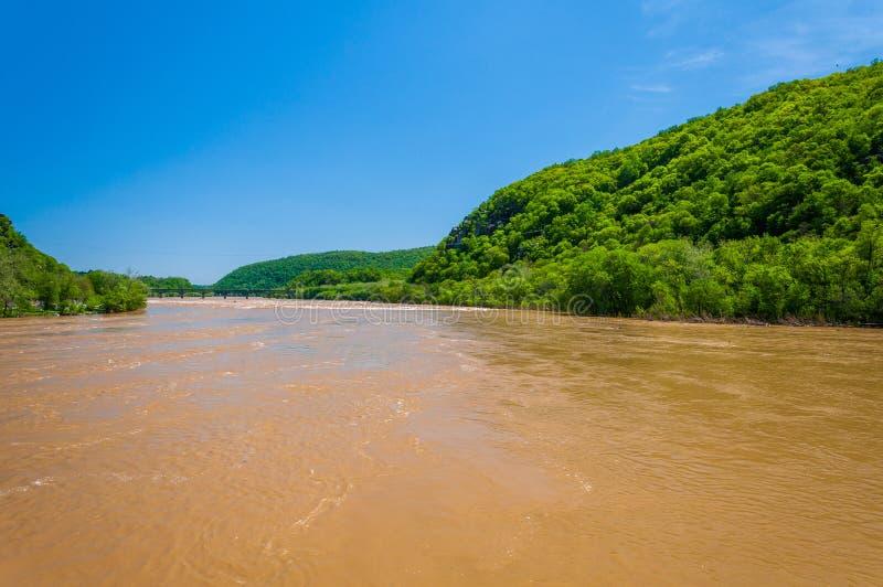 Inondazione della primavera sul fiume Potomac in traghetto di Harper, Virginia Occidentale immagine stock