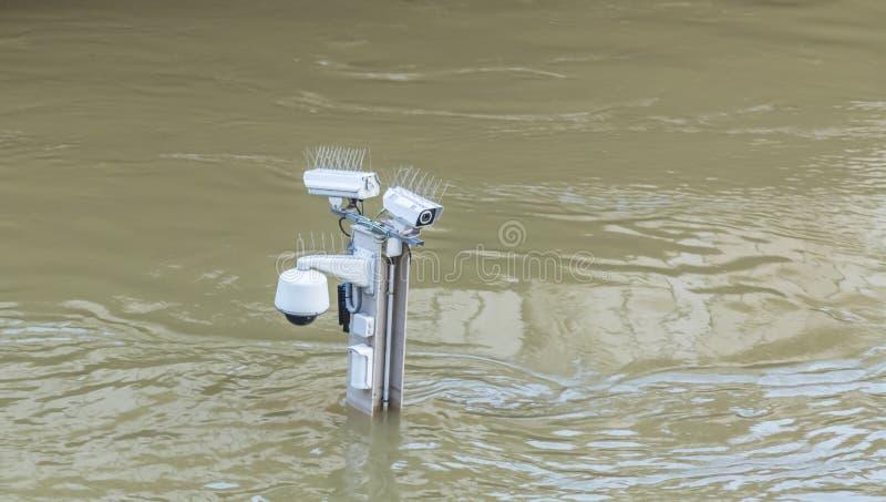 Inondazione della Senna del fiume a Parigi fotografia stock libera da diritti