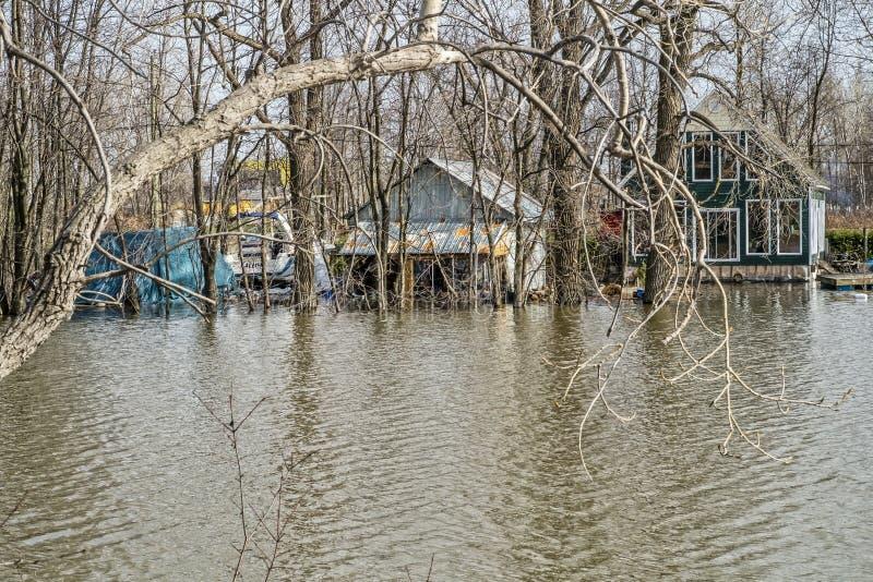 Inondazione di primavera in Laval fotografie stock