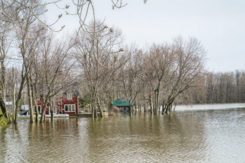 Inondazione di primavera in Laval fotografia stock