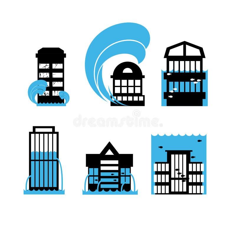 Inondazione e case messe icone di tsunami Inondazione delle costruzioni illustrazione di stock