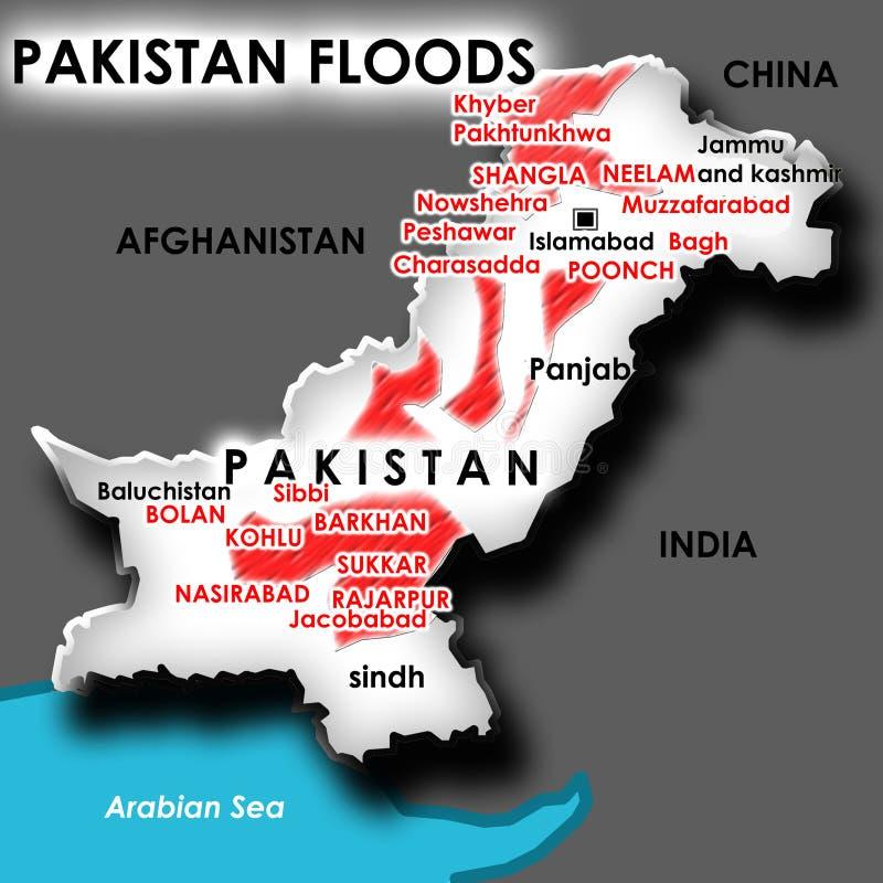 Inondazione nel Pakistan illustrazione vettoriale