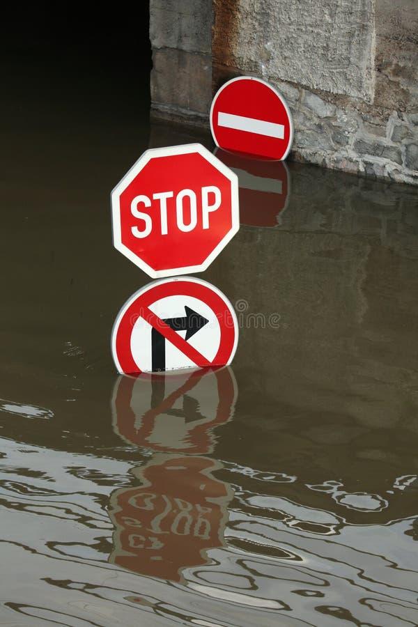 Inondazioni in Usti nad Labem, repubblica Ceca immagine stock