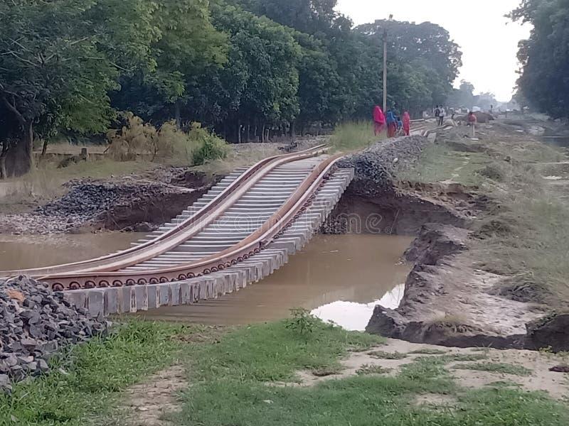 Inondazioni in villaggio indiano fotografia stock