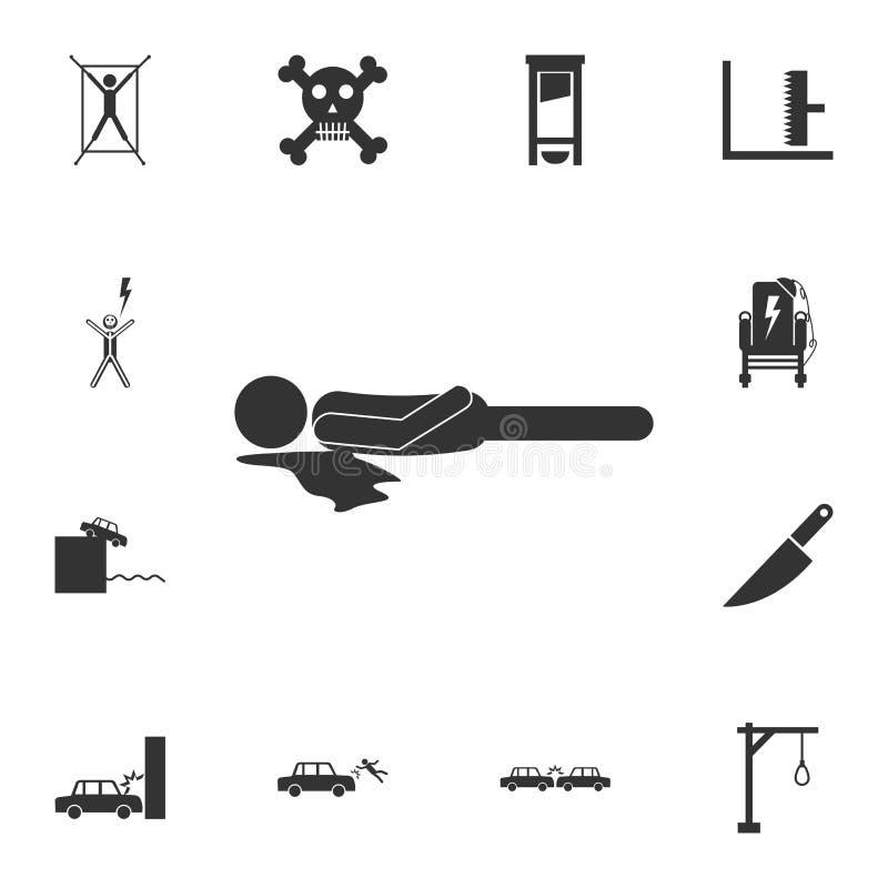 Inoperante, corpo, ícone do assassinato Grupo detalhado de ícones da morte Projeto gráfico da qualidade superior Um dos ícones da ilustração do vetor