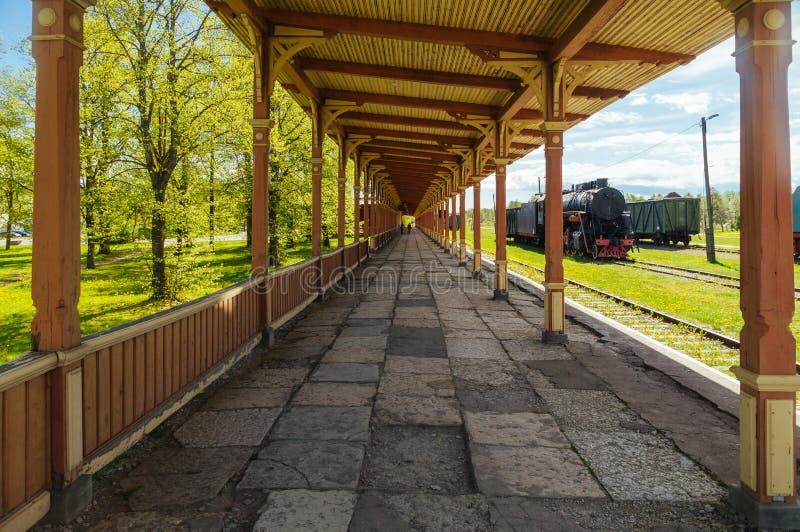 Inoperative railway station platform in Haapsalu. Inoperative vintage style railway station platform in Haapsalu, Estonia stock image