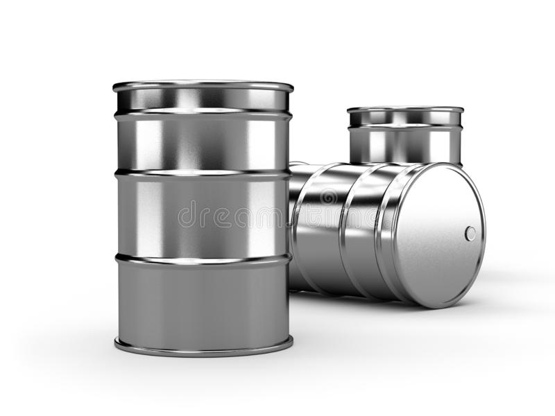 Inox silver alu oil barrels isolated on white background. 3d render royalty free illustration